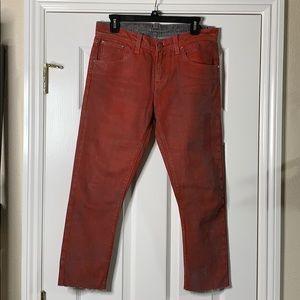 Women's Raw Dyed Boyfriend Skinny Fit Crop Jeans